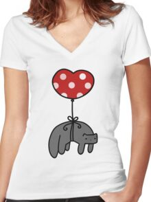 Heart Balloon Cat Women's Fitted V-Neck T-Shirt