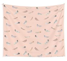 Apricot Feathers Wall Tapestry
