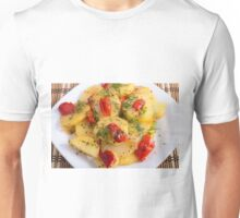 Close up view on a vegetarian dish with slices of stewed potatoes Unisex T-Shirt