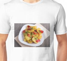 Top view of the vegetarian dish of organic ingredients Unisex T-Shirt