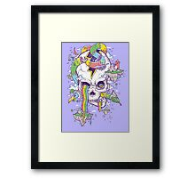 Flying Rainbow skull Island Framed Print