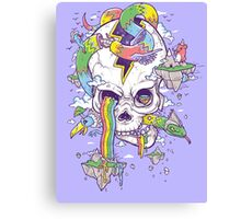 Flying Rainbow skull Island Canvas Print