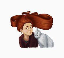 2014-08 Girl with her cat Womens Fitted T-Shirt