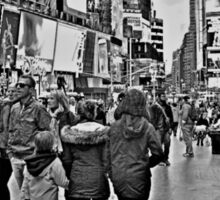 People in Times Square, New York City in B&W Sticker
