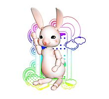 Creamy baby animals - Bunny Photographic Print