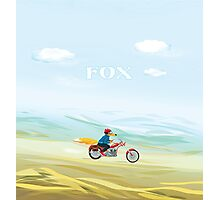 Fox-Man on a Red Motorcycle Photographic Print