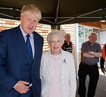 June Whitfield  & Boris Johnson by Keith Larby