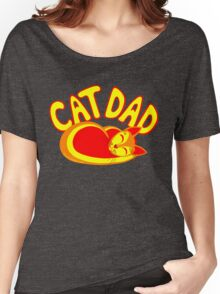 Cat Dad Orange Yellow Red Cute Cat Lover Design Women's Relaxed Fit T-Shirt