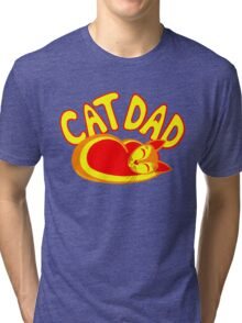 Cat Dad Orange Yellow Red Cute Cat Lover Design Tri-blend T-Shirt