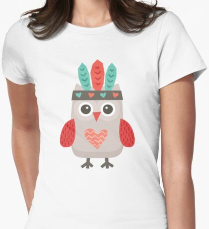 Hipster Owlet Mint Womens Fitted T-Shirt
