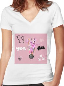 x3 Women's Fitted V-Neck T-Shirt