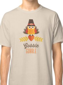 Thanksgiving Owl in Turkey Costume and Pilgrim Hat Classic T-Shirt