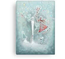 Sophie and the Snowman Canvas Print