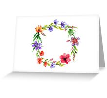 Cute Watercolor Spring Floral Wreath Greeting Card