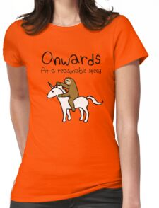 Onwards! At A Reasonable Speed (Sloth Riding Unicorn) Womens Fitted T-Shirt