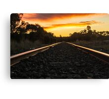 sunset on the tracks Canvas Print