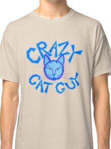 Crazy Cat Guy Funny Blue Cartoon Cat Lover Design Classic T-Shirt