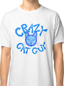 Crazy Cat Guy Funny Blue Cartoon Cat Lover Design Classic T-Shirt