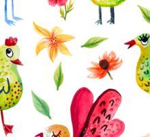 Cute Birds and Flowers Print Sticker
