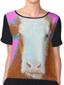 Hereford Cow on pink Chiffon Top