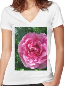 Pink Rose in Shade Women's Fitted V-Neck T-Shirt