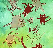 levitating kitties by Marianna Tankelevich