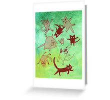 levitating kitties Greeting Card