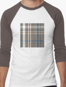 Plaid #2 Is a Cool Brown and Blue Men's Baseball ¾ T-Shirt