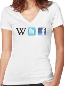WTF Social & Web Women's Fitted V-Neck T-Shirt