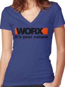 Worx Tools Its Your Nature Women's Fitted V-Neck T-Shirt
