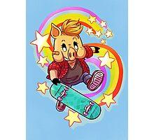 Skater Pig Photographic Print