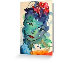Green watercolor girl Greeting Card