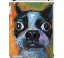 Cute Boston Terrier puppy dog portrait by Svetlana Novikova iPad Case/Skin