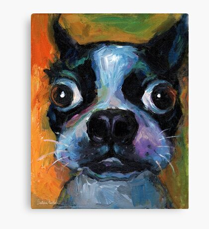 Cute Boston Terrier puppy dog portrait by Svetlana Novikova Canvas Print