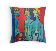 Three Muses Throw Pillow