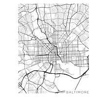 Baltimore Map, USA - Black and White Photographic Print
