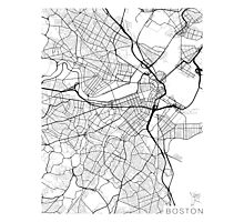 Boston Map, USA - Black and White Photographic Print