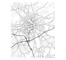 Lowell Map, USA - Black and White Photographic Print