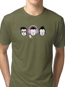 Three Hipster Apes Tri-blend T-Shirt