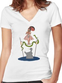 Jungle Cruise vs. Haunted Mansion Women's Fitted V-Neck T-Shirt