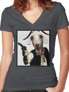 Mr Sunday / Goat Han Solo Women's Fitted V-Neck T-Shirt