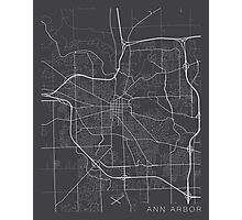 Ann Arbor Map, USA - Gray Photographic Print