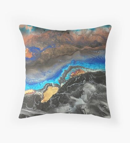 Storm Brewing spray-art painting on canvas Throw Pillow