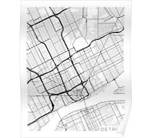 Detroit Map, USA - Black and White Poster