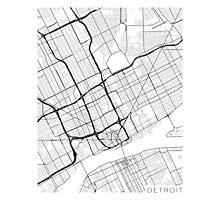 Detroit Map, USA - Black and White Photographic Print