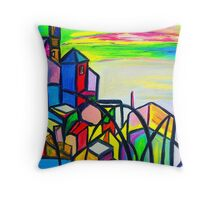 Rainbow Houses Throw Pillow