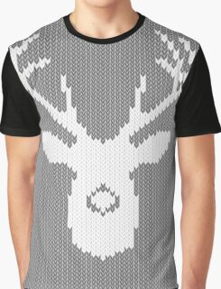Deer Silhouette in Christmas Ugly Sweater Knitting Graphic T-Shirt