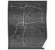Grand Rapids Map, USA - Gray Poster