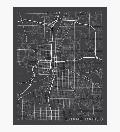 Grand Rapids Map, USA - Gray Photographic Print