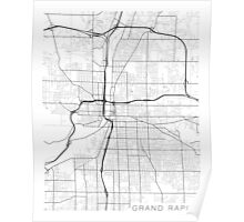 Grand Rapids Map, USA - Black and White Poster